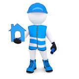 3d man in overalls with house ico Royalty Free Stock Photo