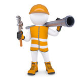 3d man in overalls with screwdriver and sewer pipe. 3d white man in overalls with a screwdriver and sewer pipe. Isolated render on a white background Royalty Free Stock Image