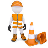 3d man in overalls beside traffic cones. Render on a white background Stock Image