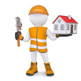 3d man in overalls with wrench and house. Isolated render on a white background Royalty Free Stock Photos