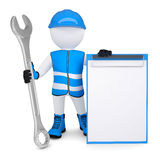 3d man in overalls with wrench. 3d man in overalls with a wrench. Isolated render on a white background Royalty Free Stock Images