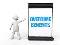 3d man with overtime benefits billboard Stock Photography