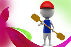 3d man paddle  illustration Stock Photo