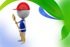 3d man paddle  illustration Royalty Free Stock Images