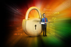 3d man with padlock Royalty Free Stock Photos