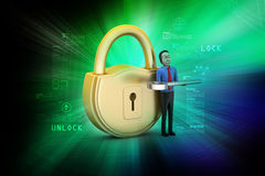 3d man with padlock Stock Images