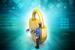 3d man with padlock Royalty Free Stock Photo