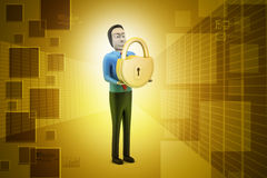 3d man with padlock Royalty Free Stock Photography