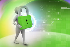 3d man with padlock, security concept Royalty Free Stock Photography