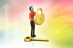 3d man with padlock, security concept Royalty Free Stock Photos