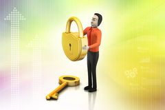 3d man with padlock, security concept Stock Image