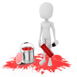 3d man and paint bucket. On white background Royalty Free Stock Image
