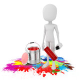 3d man and paint bucket Royalty Free Stock Photography