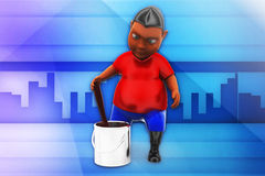 3d man paint can illustration Stock Image