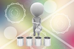 3d man paint cans illustration Stock Photo