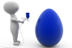 3d man paint egg concept Royalty Free Stock Photo