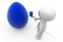 3d man paint egg concept Stock Photo