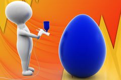 3d man paint egg illustration Royalty Free Stock Image