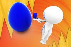 3d man paint egg illustration Stock Photos
