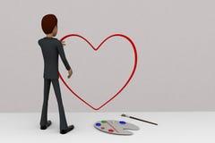 3d man paint heart concept Stock Photography