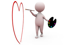 3d man paint heart concept Royalty Free Stock Photo
