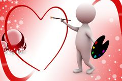 3d man paint heart illustration Royalty Free Stock Photo