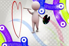 3d man paint heart illustration Royalty Free Stock Images