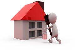 3d man paint house concept Stock Image