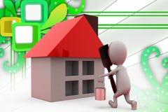 3d man paint house illustration Royalty Free Stock Image