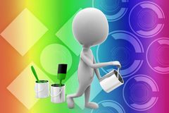 3d man paint illustration Stock Photography