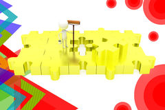 3d man paint puzzle  illustration Royalty Free Stock Images