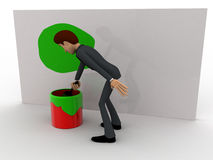 3d man painting green on wall using brush and paint bucket concept Stock Images