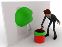 3d man painting green on wall using brush and paint bucket concept Stock Photography