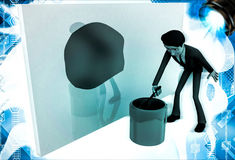 3d man painting green on wall using brush and paint bucket illustration Stock Photos