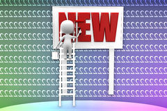 3d man painting new text illustration Royalty Free Stock Photo