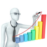 3d man painting a successful chart Royalty Free Stock Image