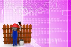 3d man painting wooden barrier Illustration Royalty Free Stock Images