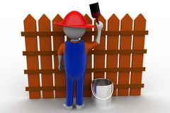 3d man painting wooden barrier Stock Image