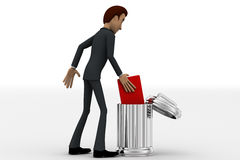 3d man pan trowing book inside dustbin concept Royalty Free Stock Photos