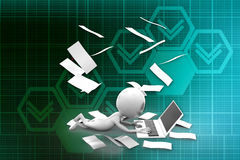 3D man paper and laptop illustration Royalty Free Stock Image