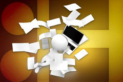 3D man paper and laptop illustration Stock Image