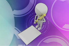 3d man paper pen illustration Royalty Free Stock Photos