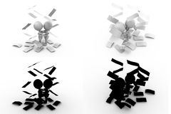 3d man paper rain Concept Collections With Alpha And Shadow Channel Royalty Free Stock Photography