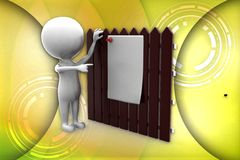 3d man paper wooden wall illustration Royalty Free Stock Image