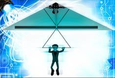 3d man paragliding illustration Royalty Free Stock Images