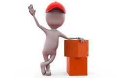 3d man with parcels concept Royalty Free Stock Photo
