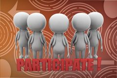 3d man participate illustration Stock Image