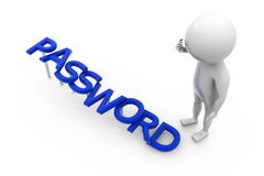 3d man password concept Stock Photos