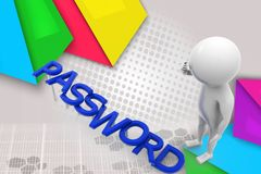 3d man password illustration Stock Photography