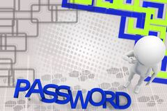 3d man password illustration Stock Image